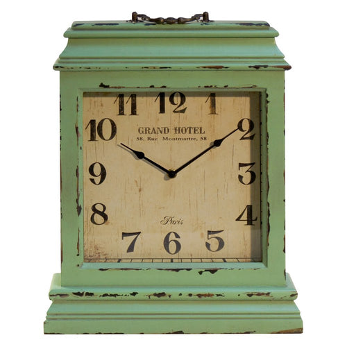 Large Distressed Seafoam Mantle Clock