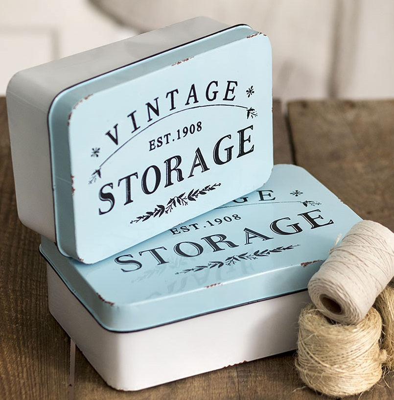 LARGE Enamel Vintage Storage Tins, Set of 2