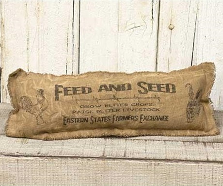 Burlap Feed & Seed Long Pillow with Fringe