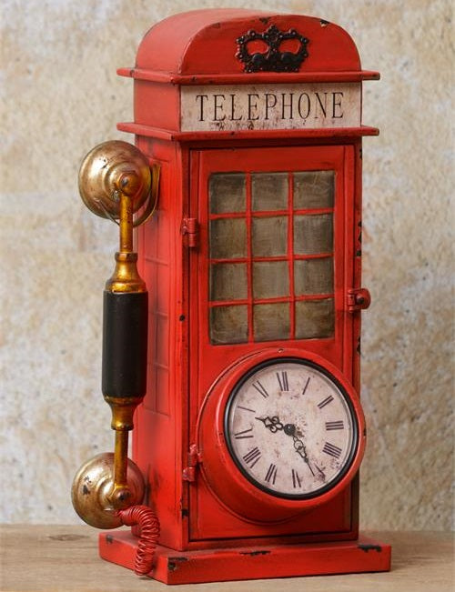 LARGE Vintage Style Telephone Booth Clock