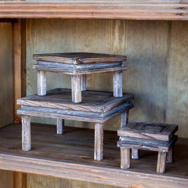Rustic Wood Footed Risers, Set of 3