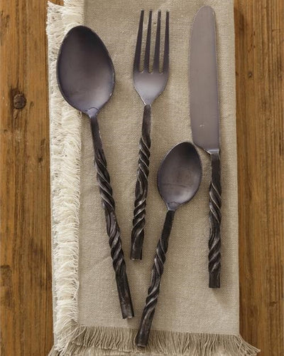 Vintage Style Black Iron 4 Piece Flatware, Set of 6