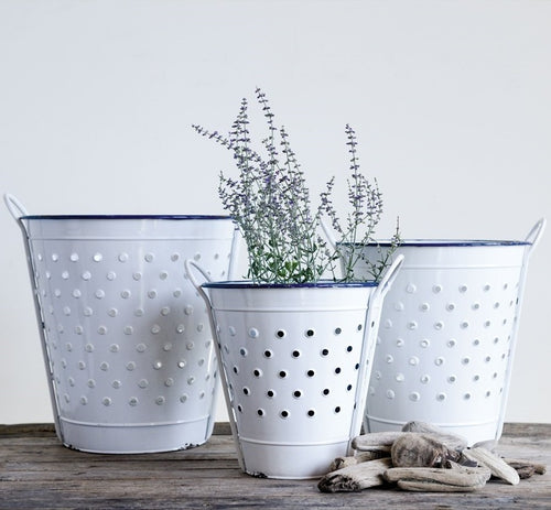 Enameled White Olive Buckets, Set of 3