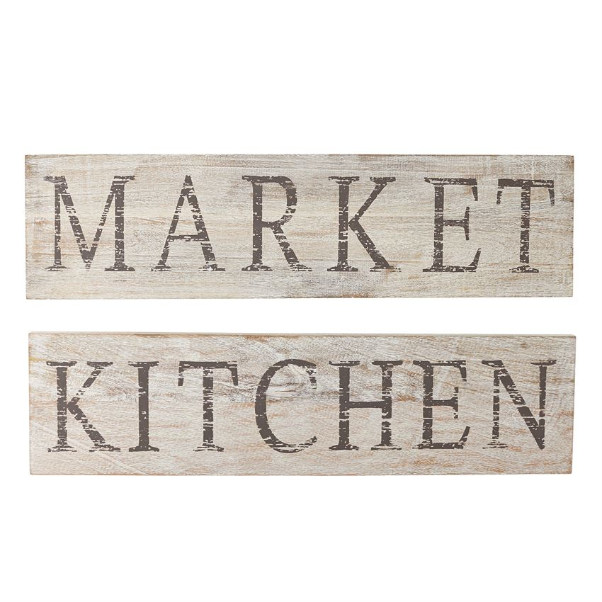 White Washed Wood Kitchen AND Market Signs, Set Of 2 U2013 Farmhouse Fresh Home®