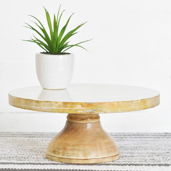 Enamel and Wood Cake Stand/Riser