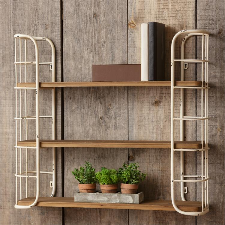 LARGE Metal and Wood 3-Tier Shelving Unit