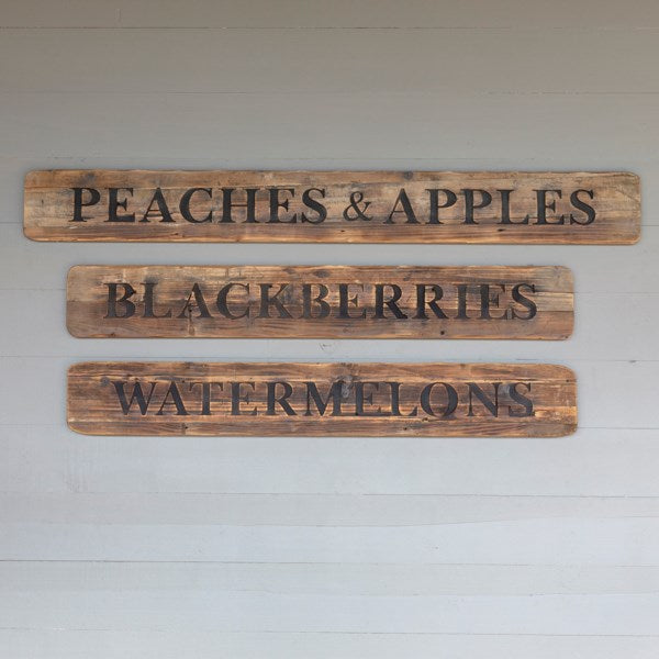 Rustic Wooden Fruit Roadside Signs, Set of 3