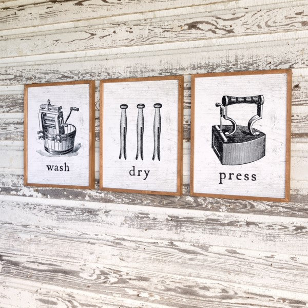 Laundry Room Wall Decor, Set of 3