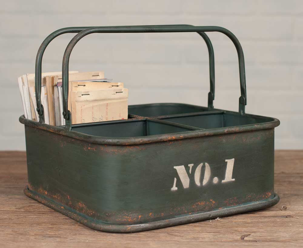 Vintage Inspired 4 Cubby Square Bin with Handles
