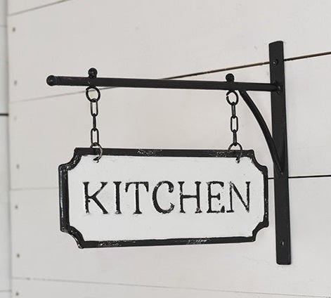 Metal 2-Sided KITCHEN Sign with Hanging Display Bar