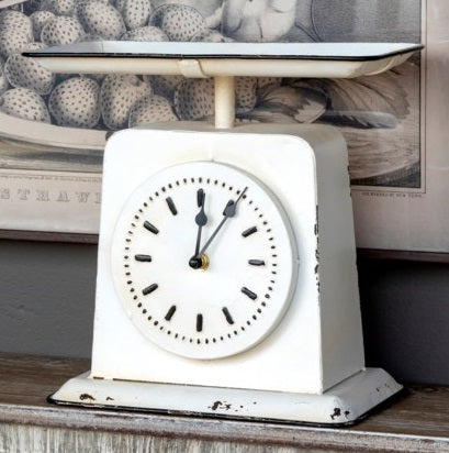 Vintage Style Enamel Homemakers Scale Clock