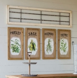 Framed Herb Prints on Burlap, Set of 4
