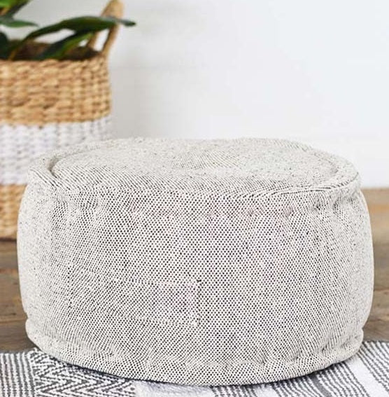 Black and White Speckle Cotton Floor Pillow/Pouf