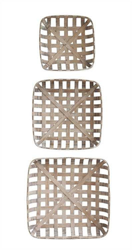 Rustic Square Wood Baskets, Set of 3