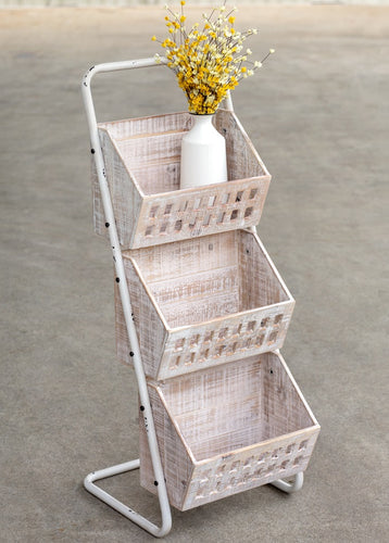 Antique White Metal and Wood 3-Bin Organizer