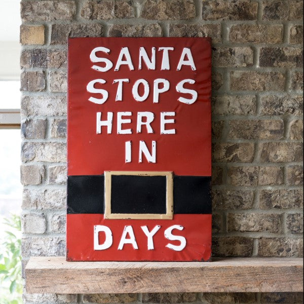 Vintage Embossed Metal Santa Stops Here Sign
