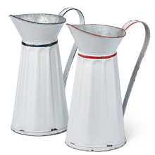Eliza Vintage Style TALL Enamel Pitchers, Set of 2