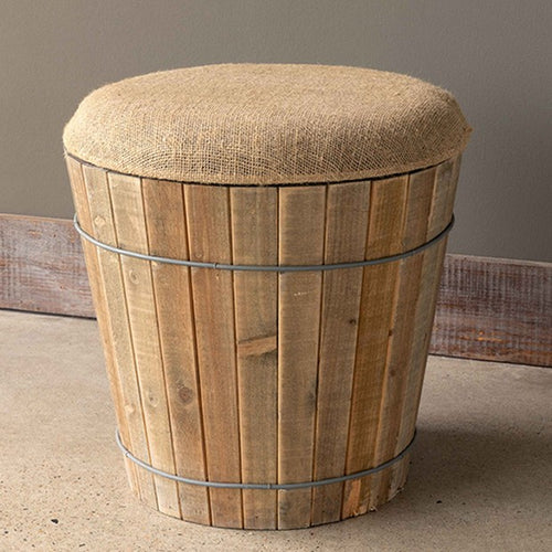 Burlap Topped Wooden Barrel Stool