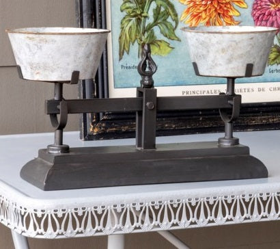 Vintage Inspired Black and Tin Balance Scale