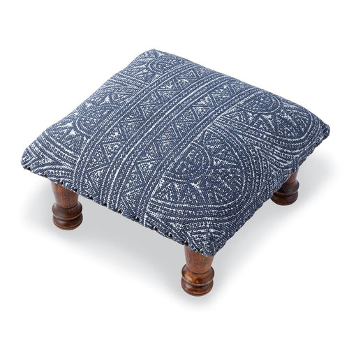 Block Print Navy Foot Stool