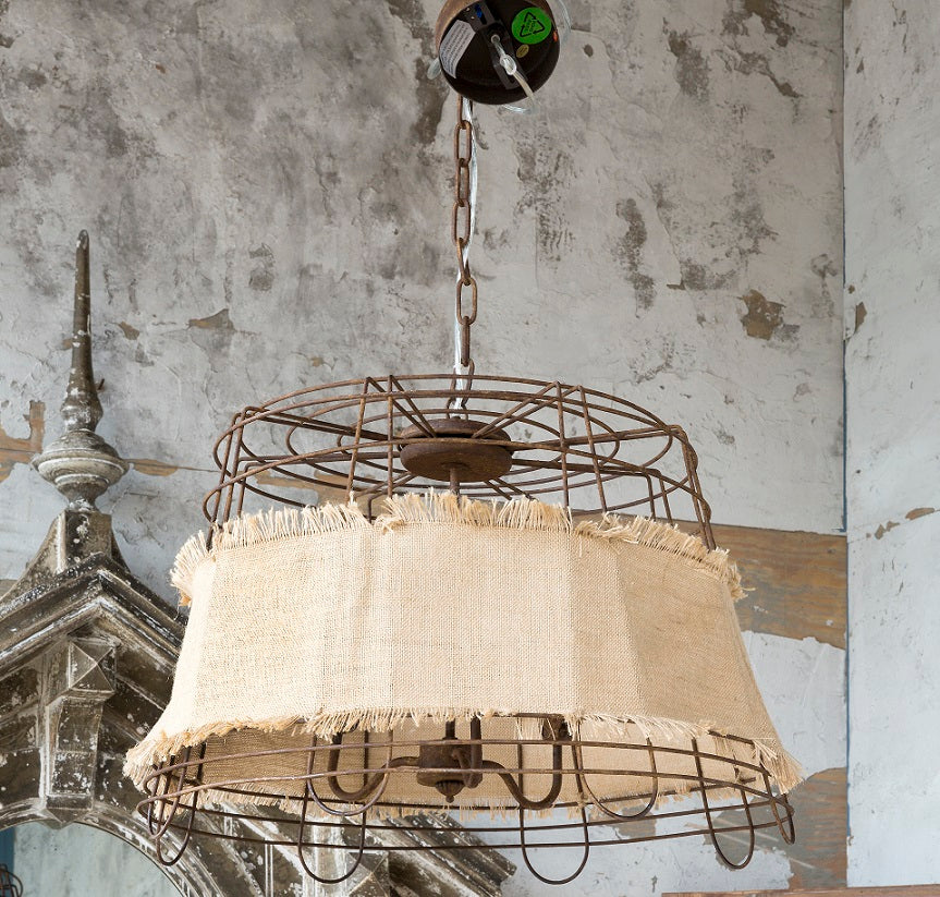 Wire Basket and Burlap Light Fixture