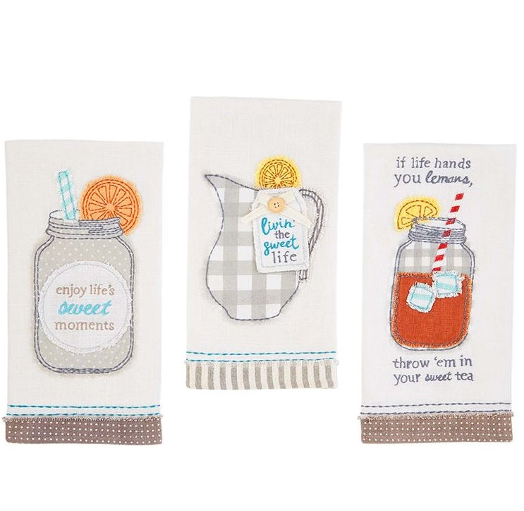 Sweet Tea Applique Towels, Set of 3