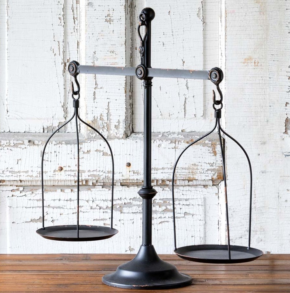 Decorative Iron Balance Scale With Bird Topper Farmhouse