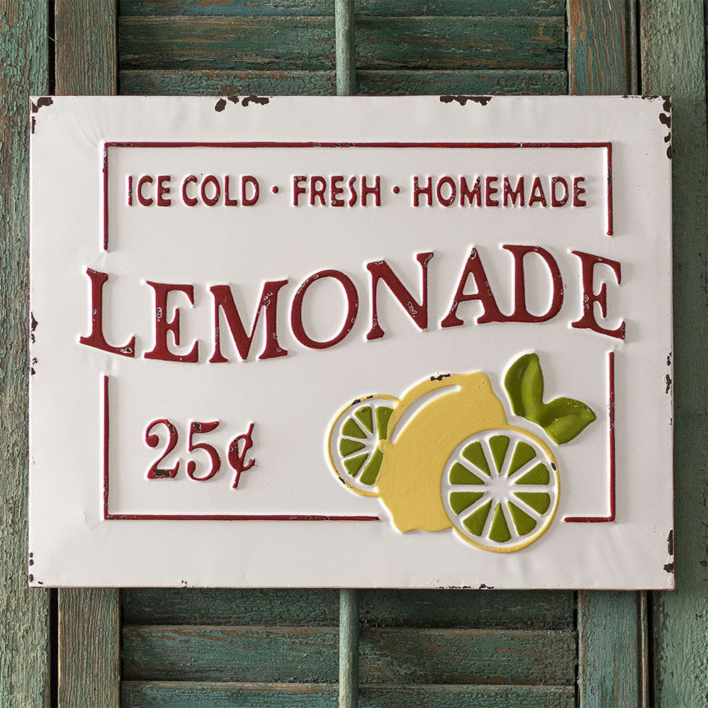 Vintage Embossed Metal Lemonade Sign