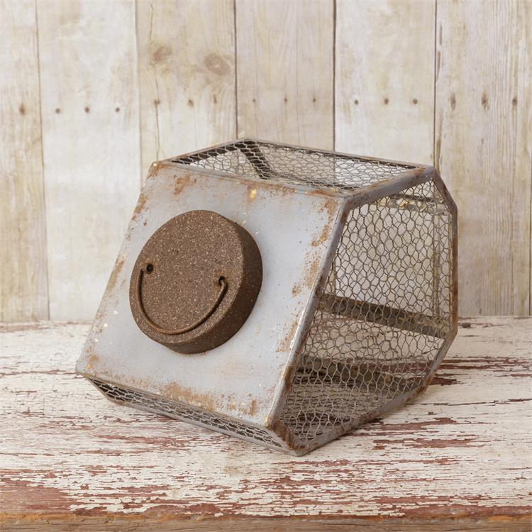 Small Vintage Inspired Bulb Bin with Chicken Wire