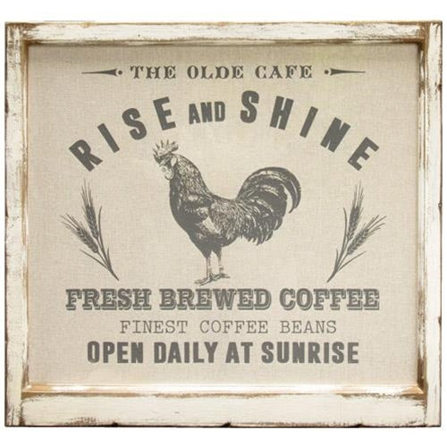 Framed Canvas Rise and Shine Rooster Wall Decor