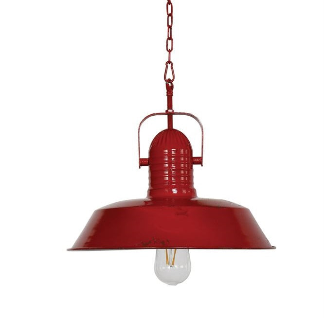 Vintage Chic Red Metal Pendant Light
