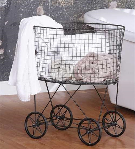 Vintage Laundry Basket With Wheels
