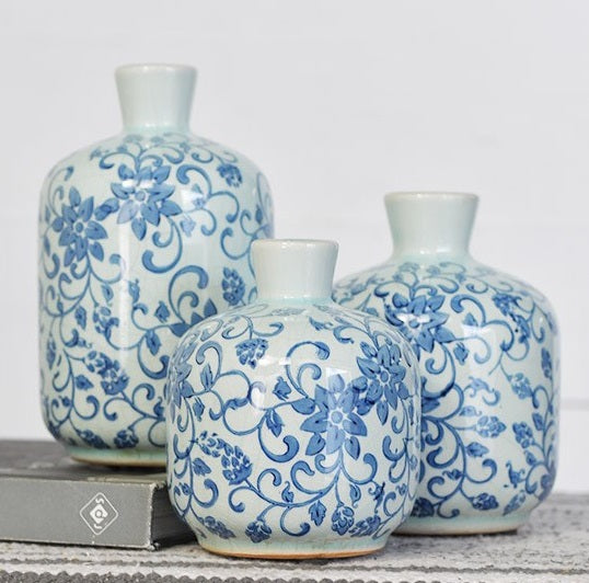 LARGE French Floral Blue and White Vases, Set of 3