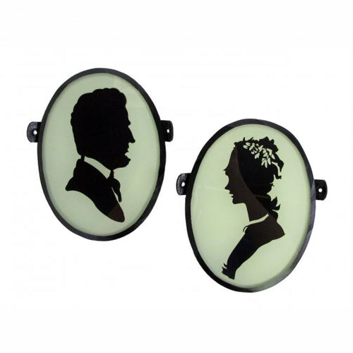 Vintage Style Cameo Plaques, Set of 2