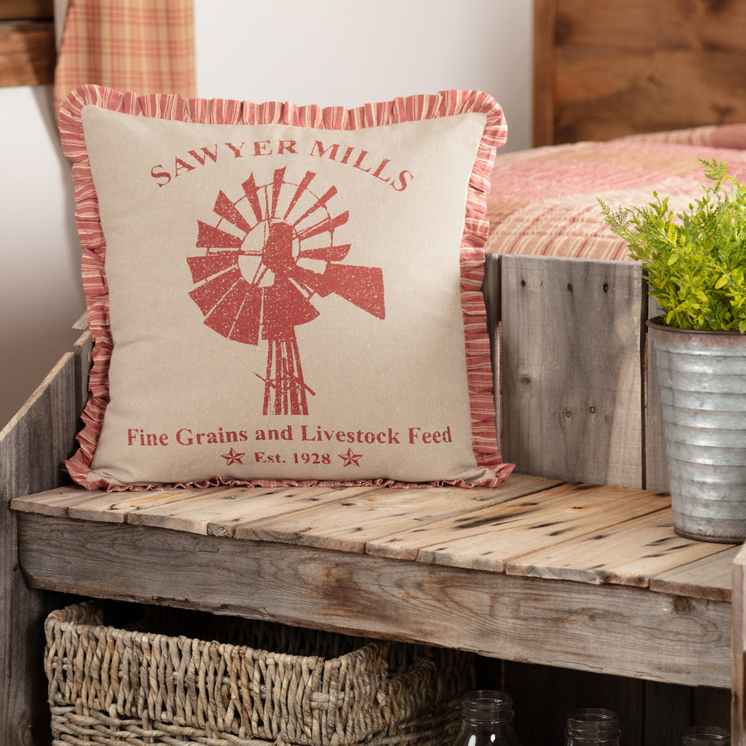 Sawyer Mill Red Windmill Pillow with Ruffle Trim