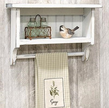 Chippy White Beadboard Towel Rack with Shelf