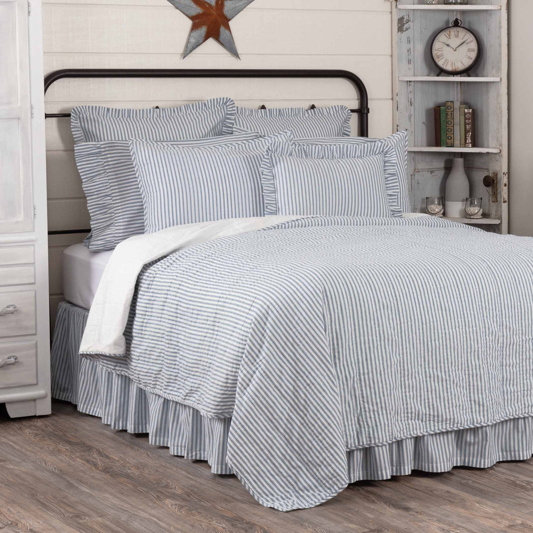 Sawyer Mill Blue Ticking Stripe KING Quilt Coverlet