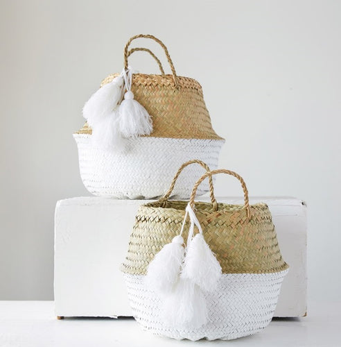 Palm Leaf and White Baskets with Tassels, Set of 2