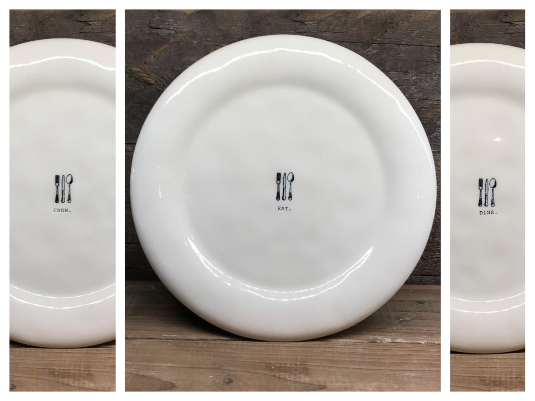New Rae Dunn Eat Chow Dine Icon Dinner Plates Set of 6 & New Rae Dunn Eat Chow Dine Icon Dinner Plates Set of 6 ...