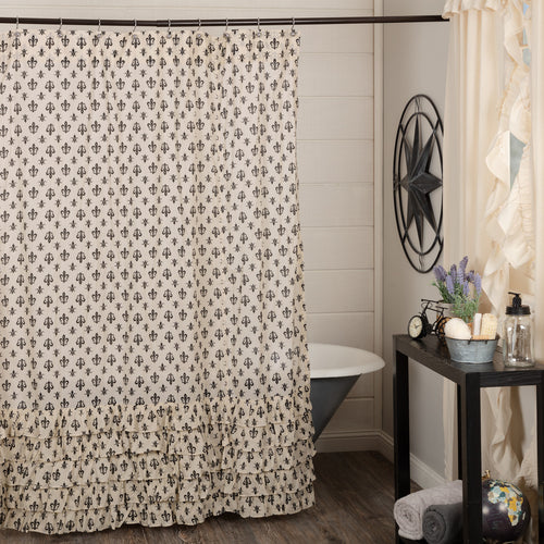 Elysee Ruffled Fleur De Lis Shower Curtain