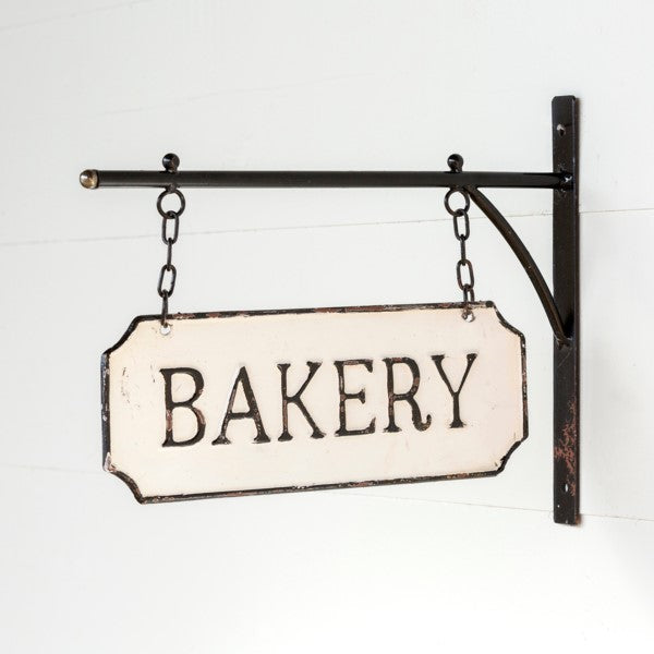 Metal BAKERY Sign with Hanging Display Bar