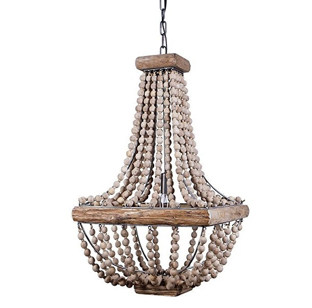 Metal and Wood, Beaded Chandelier
