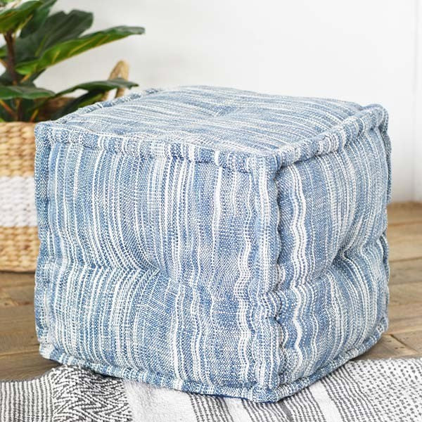 Square Cotton Blue and White Striped Pouf