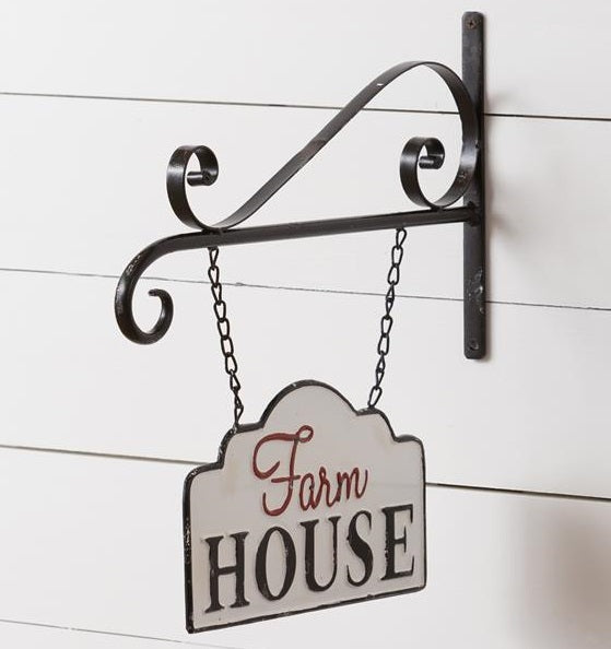 LARGE Metal Farm House Hanging Sign with Scroll Display Bar
