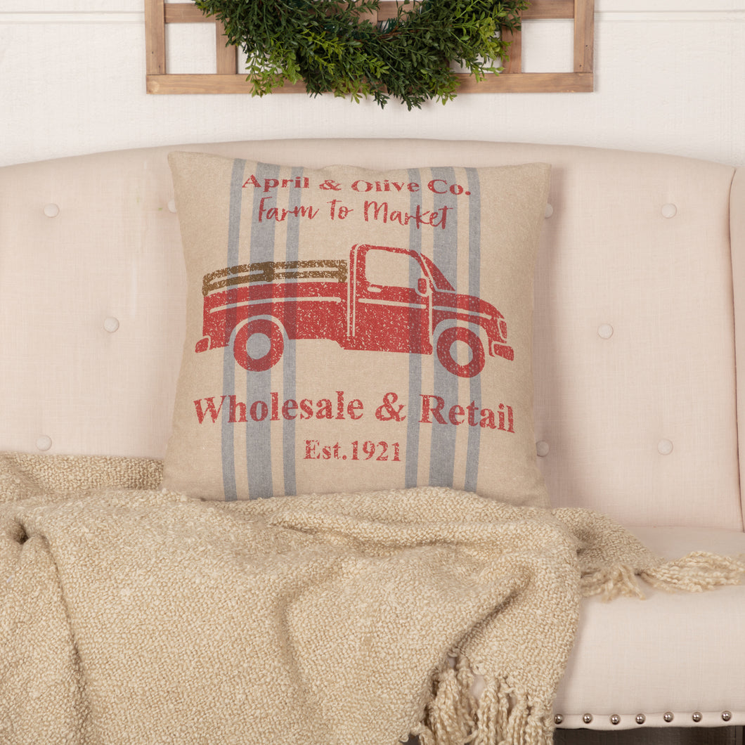 Farmer's Market Delivery Truck Pillow