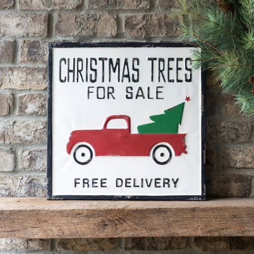 Vintage Embossed Metal Christmas Trees For Sale Sign
