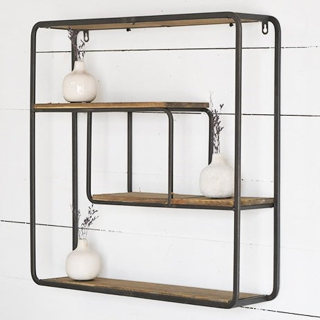Wood and Metal 4-Tier Shelf