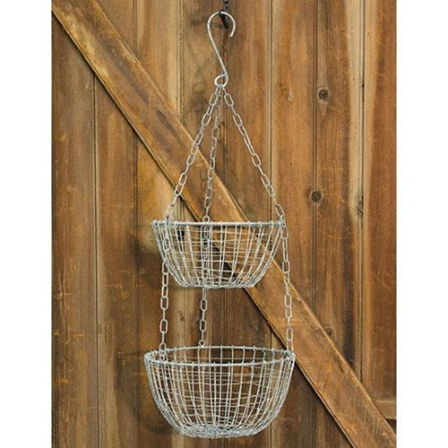 Hanging Round 2-Tier Wire Basket