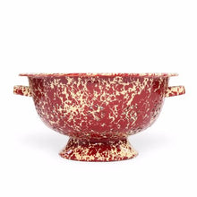 Large Enamel Colander, Burgundy and Cream Marble