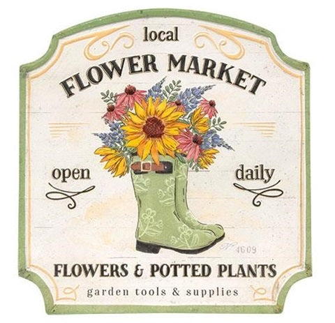 Vintage Embossed Metal Local Flower Market Sign